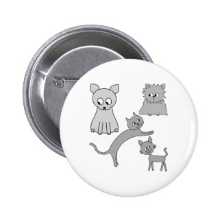 Grey Cats. Pinback Buttons