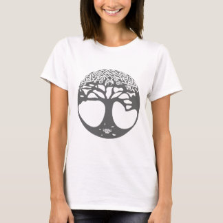Grey Celtic Tree of Life with Celtic Knot Leaves T-Shirt
