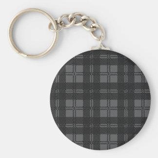 Grey Check Tartan Wool Material Key Ring