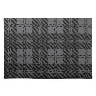 Grey Check Tartan Wool Material Placemat