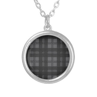 Grey Check Tartan Wool Material Silver Plated Necklace