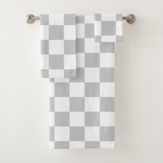 Grey Checkerboard Bath Towel Set