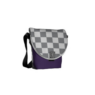 Grey Checkerboard Commuter Bag