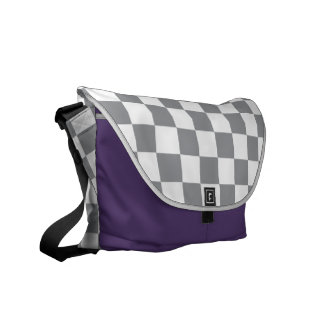 Grey Checkerboard Commuter Bags