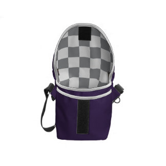Grey Checkerboard Courier Bag