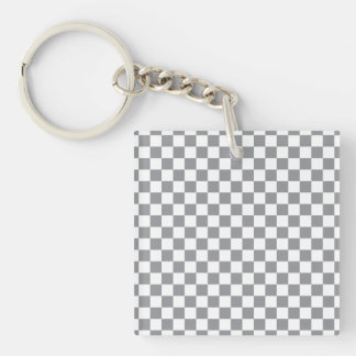 Grey Checkerboard Double-Sided Square Acrylic Key Ring