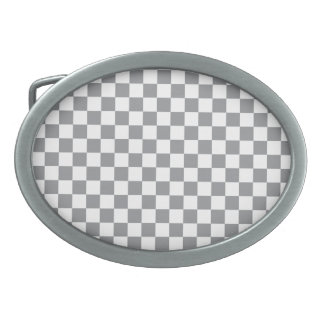 Grey Checkerboard Oval Belt Buckle