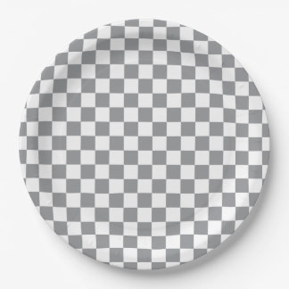 Grey Checkerboard Paper Plate