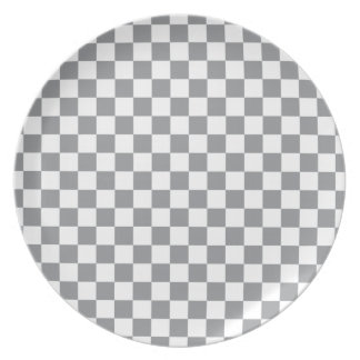 Grey Checkerboard Plate