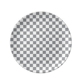 Grey Checkerboard Plate
