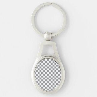 Grey Checkerboard Silver-Colored Oval Key Ring