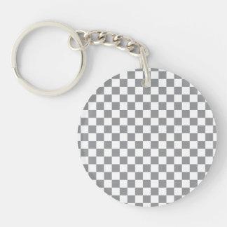 Grey Checkerboard Single-Sided Round Acrylic Key Ring