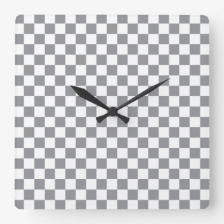 Grey Checkerboard Square Wall Clock