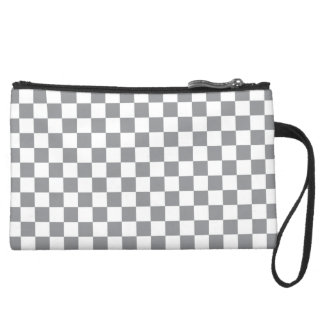 Grey Checkerboard Suede Wristlet