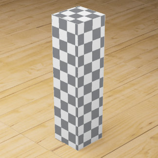 Grey Checkerboard Wine Box