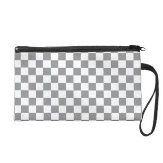 Grey Checkerboard Wristlet Purses