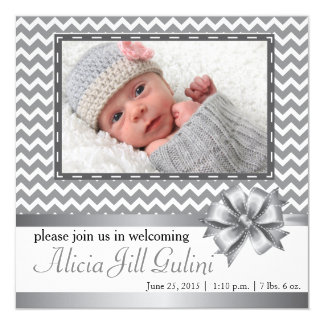 Grey Chevron Baby Announcement Card