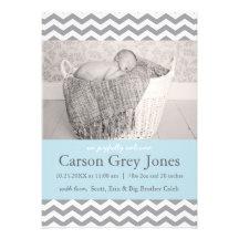 Grey Chevron   Baby Boy Birth Announcement