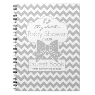 Grey Chevron Baby Shower Guest Book