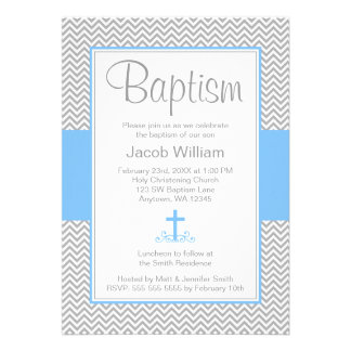 Grey Chevron Blue Cross Boy Baptism Christening Personalised Invitation