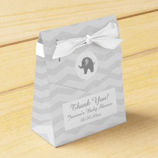 Grey chevron elephant baby shower party favor box favour boxes