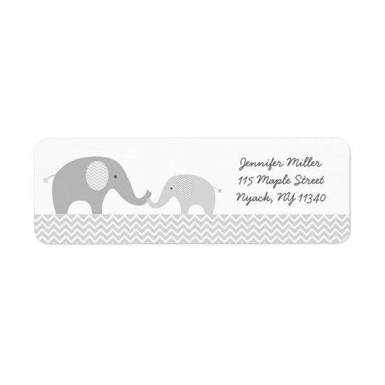 Grey Chevron Elephant Baby Shower Return Address Label