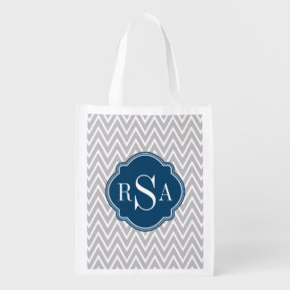 Grey Chevron Navy Monogram Initial Letter Reusable Grocery Bag