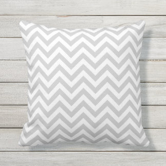 Grey chevron outdoor throw pillow | Custom color