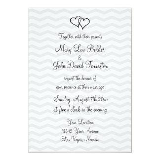 Grey chevron pattern theme wedding invitations