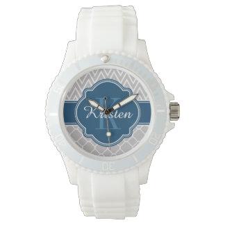 Grey Chevron Quatrefoil Pattern Blue Monogram Watch