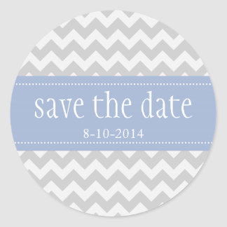 Grey Chevron Save the Date Custom Stickers