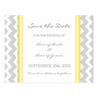 Grey Chevron Save the Date Wedding Postcards