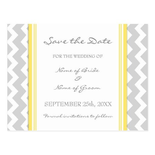Grey Chevron Save the Date Wedding Postcards