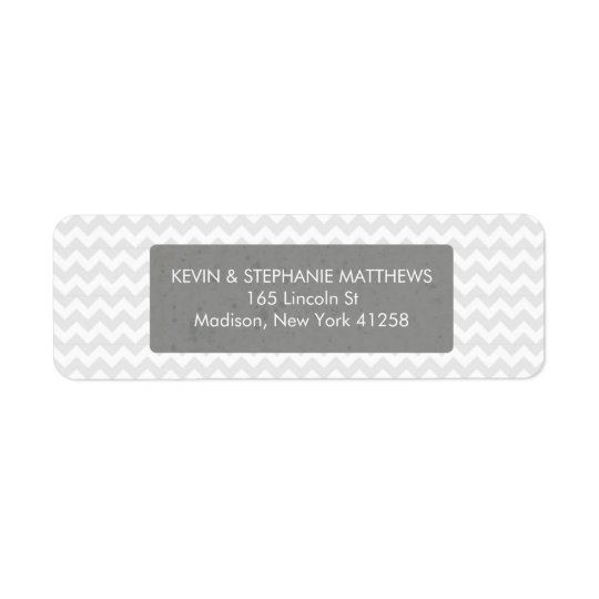 Grey Chevron Stripes Return Address Label
