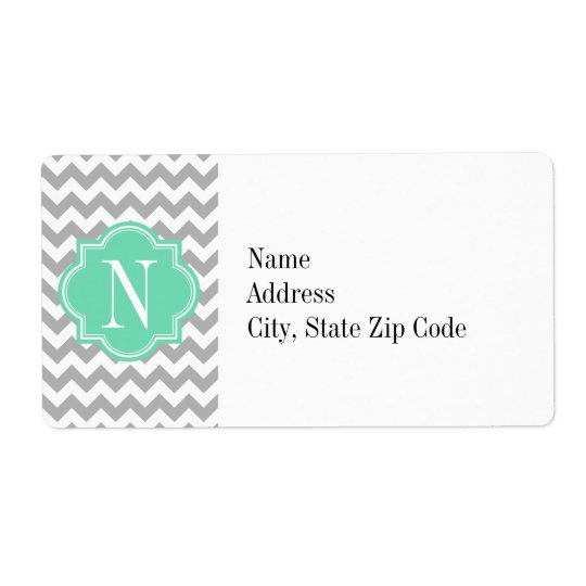 Grey Chevron with Mint Monogram Shipping Label