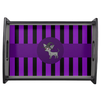 Grey Chihuahua with Witch Hat & Purple Stripes Serving Tray