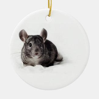 Grey Chinchilla Cute in Blanket Ceramic Ornament