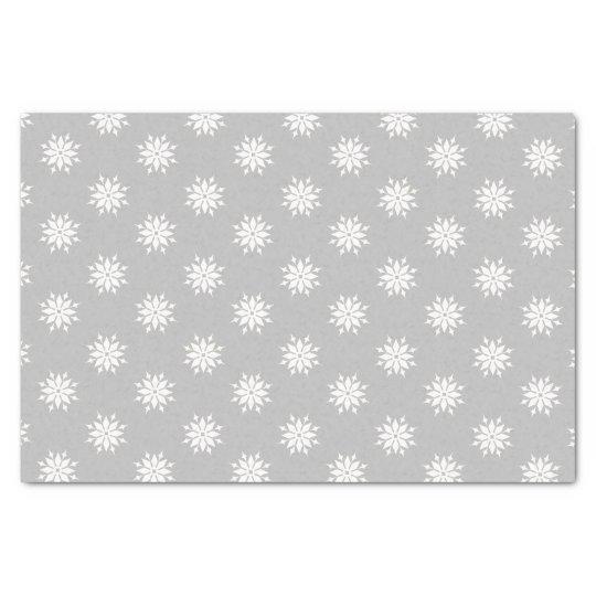 Grey Christmas white snowflakes Tissue Paper