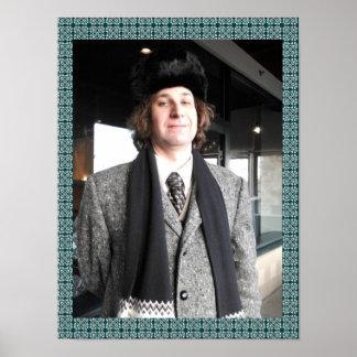 Grey Coat and Fur Hat Poster