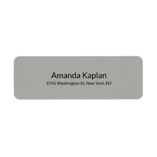 Grey Color Modern Plain Minimalist Professional Return Address Label