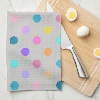 grey colorful confetti polka dots kitchen towel