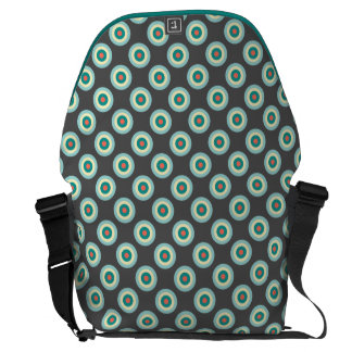 Grey Combination Circles Messenger Bags