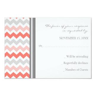 Grey Coral Chevron RSVP Wedding Card 9 Cm X 13 Cm Invitation Card