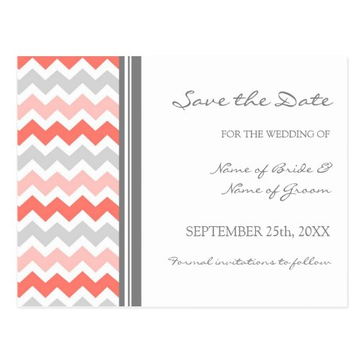 Grey Coral Chevron Save the Date Wedding Postcards