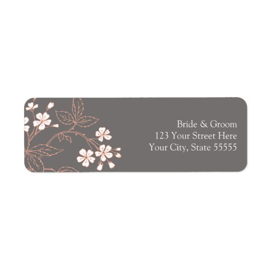 Grey Coral Wedding Custom Return Address Labels