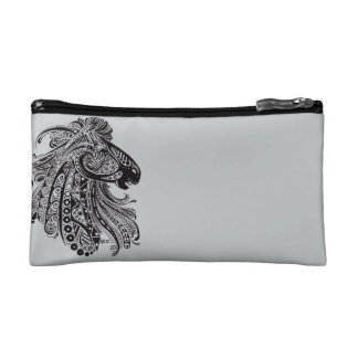 Grey Cosmetic Bag with Horse Desgin