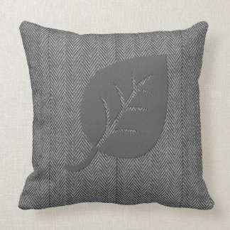 Grey Cosy Woolly Leaf Pillow