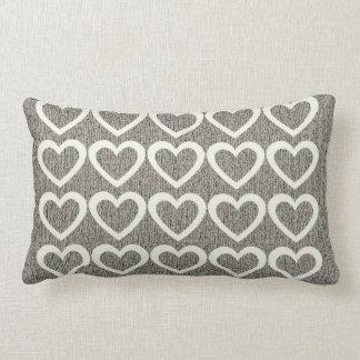 Grey Cozy Woolly Cream Hearts Pillow