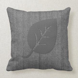 Grey Cozy Woolly Leaf Pillow