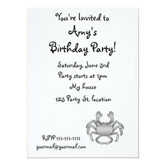 Grey crab 17 cm x 22 cm invitation card